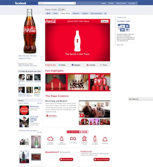 Página de Facebook de Coca Cola