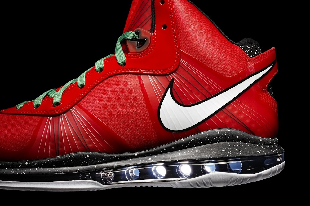 finest selection 6528c 13a24 ... Fresh Look at Nike LeBron V2 Christmas Exclusive with Red Laces
