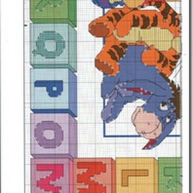 Winnie the Pooh y sus amigos con abecedario punto de cruz
