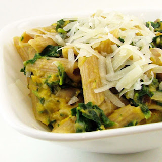 Roasted Butternut Squash and Spinach Penne Pasta.