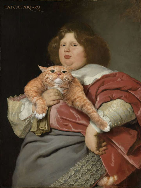 Fat Boy and Fat Cat. Portrait of Gerard Andriesz. Bicker with his Cat