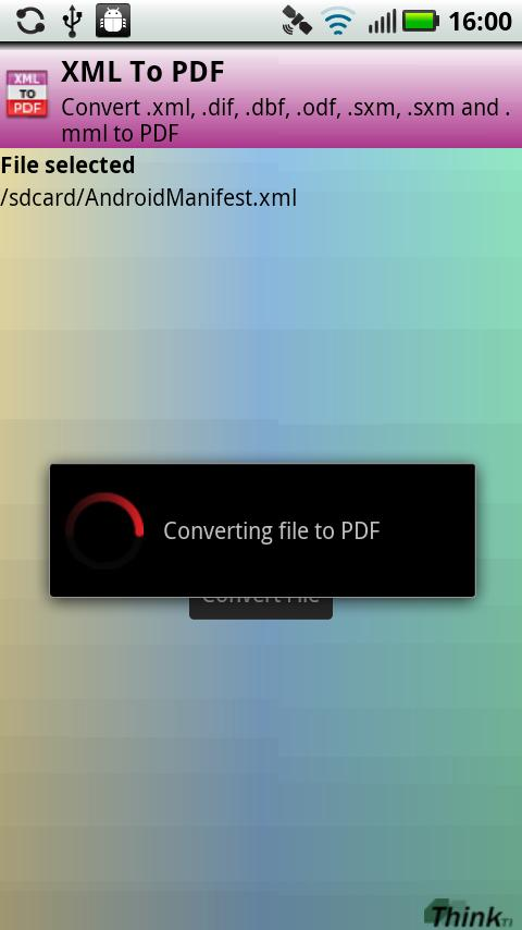 XML to PDF- screenshot