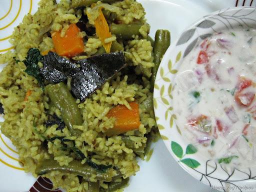 Vegetable Pulao with Raita