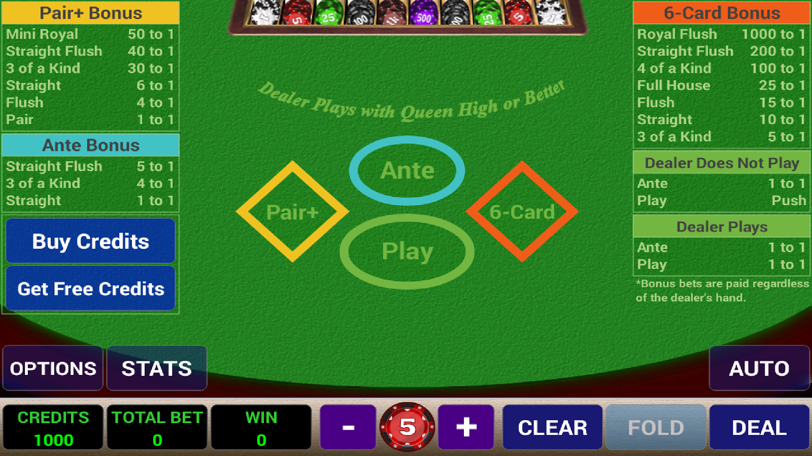 3 card poker with 6 card bonus play for fun