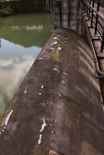 右岸より自然越流式洪水吐を望む