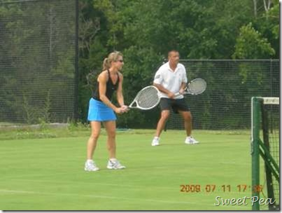 Dave and Paula Tennis on Grass Court