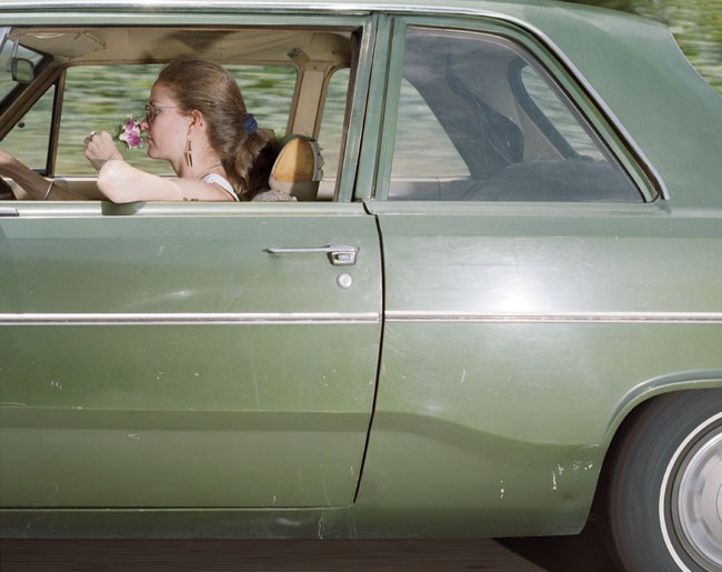 Woman taking her time rambling south at 63 mph on the Hollywood Freeway near the Vine Street exit in Los Angeles on a Saturday afternoon in 1991