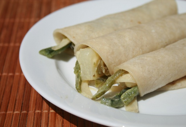 Tacos de rajas poblano strips recipe