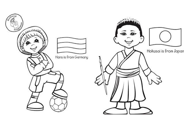 Dibujo De Nacionalidades Para Colorear: COLOREAR NIÑOS DEL MUNDO