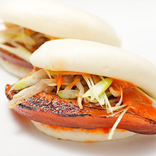 Pork Belly Buns with Spicy Mayo, Scallions, and Pickled Bean Sprouts