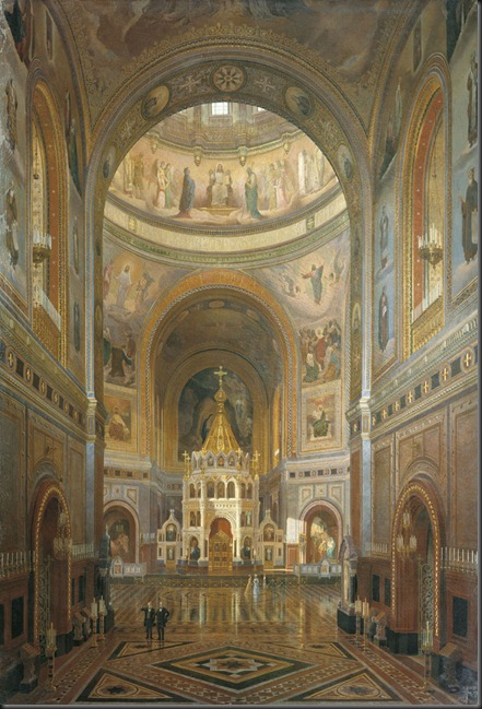 Klages_-_Interior_of_Cathedral_of_Christ_Saviour_in_Moscow