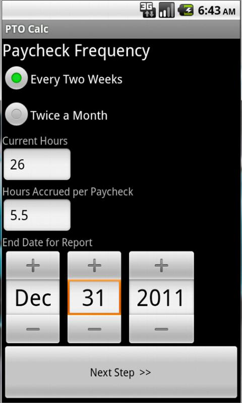 PTO Calc- screenshot