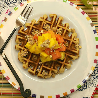 Coconut Waffles with Tropical Fruit and Granola Recipe