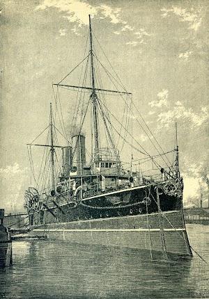 Vista de proa del HMS GIBRALTAR. Grabado de la REVISTA DE NAVEGACIÓN Y COMERCIO. AÑO 1893.jpg