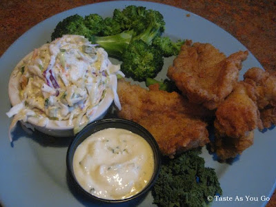Southern-Fried Catfish with Coleslaw and Broccoli at Calhoun's in Knoxville, TN - Photo by Taste As You Go