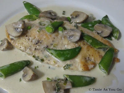 Chicken with Creamy Mushrooms and Snap Peas - Photo by Taste As You Go