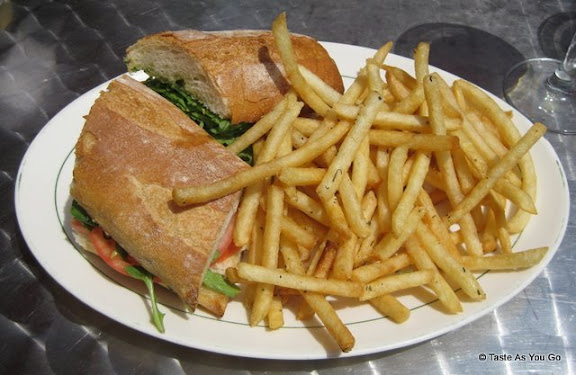 Fresh Tomato, Mozzarella, and Basil Panini with Pesto Sauce with French Fries at Masso in Long Island City, NY | Taste As You Go