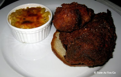 Spicy Fried Chicken with Cheddar and Smoked Gouda Mac and Cheese at West 3rd Common in New York, NY - Photo by Taste As You Go