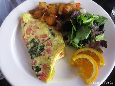 Tomato Basil Omelette with Country Potatoes at La Giara in New York, NY - Photo by Taste As You Go