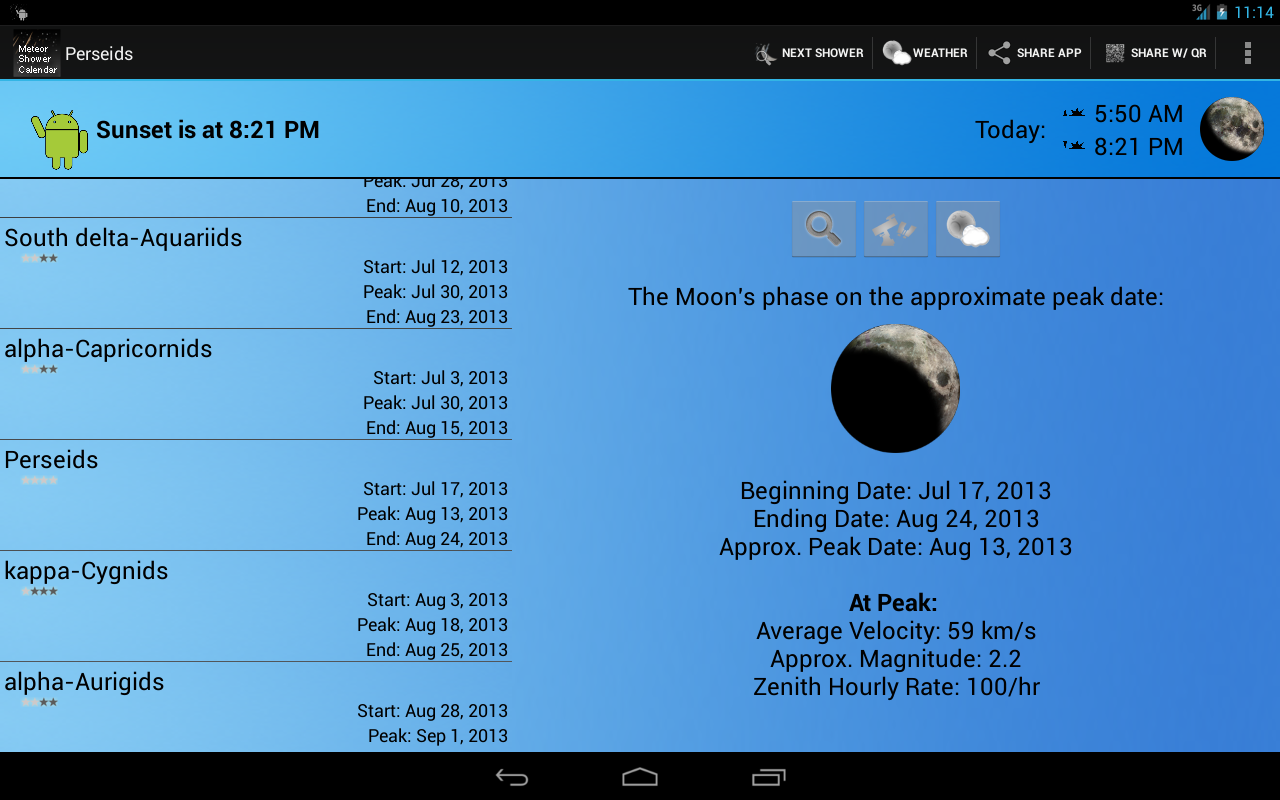 Meteor Shower Calendar - screenshot