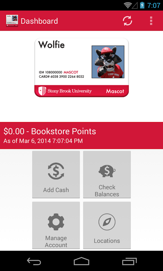 Stony Brook Campus Card - screenshot