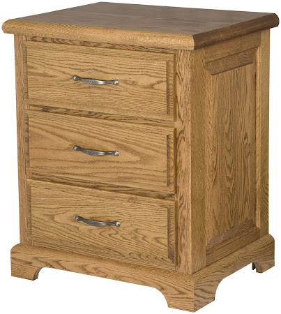 Hudson Nightstand with Drawers, in Medium Oak, Custom Hardware