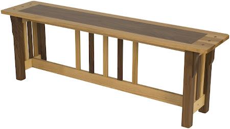 Mixed Hardwood Bench with Custom Border Seat