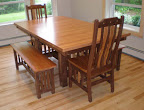 60 x 42 Mission Dining Table & Mission Chairs & Mission Benches, Cherry & Walnut Hardwood, Natural Finish