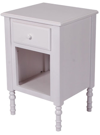 Matching Furniture Piece: Farmhouse Nightstand with Shelf, Oak Hardwood, White Paint