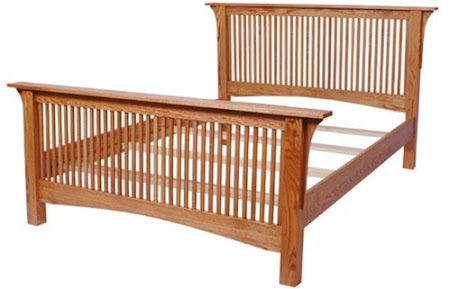 Mission Bed Frame, in Medium Oak