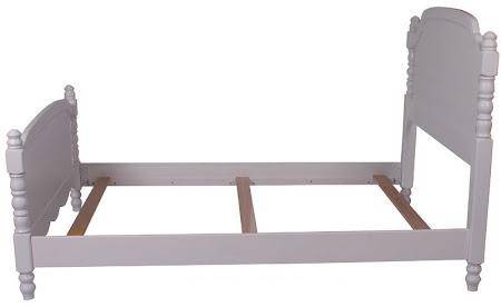 Farmhouse Bed Frame in Oak Hardwood, White Paint