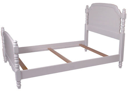 Farmhouse Bed Frame in Oak Hardwood, White Paint
