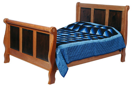 Classic Bed Frame in Natural Hard Maple and Walnut