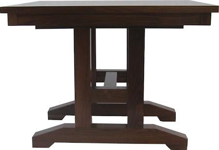 """42"""" x 42"""" Trestle Table, Walnut Hardwood, Natural Finish"""