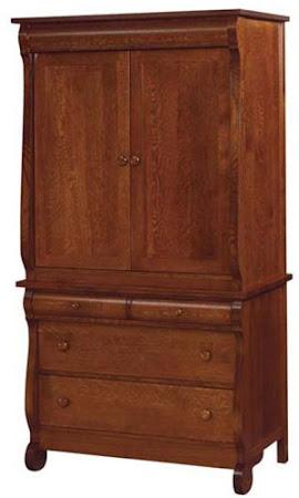 Classic Armoire Dresser in Mahogany Quarter Sawn Oak