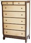 Classic Dresser, Hard Maple and Walnut, Natural Finish.