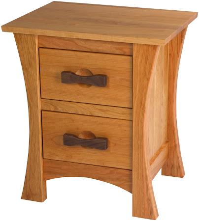 Zen Nightstand with Drawers in Medium Oak