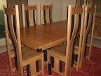 Shenzen Dining Table, Shenzen Chairs, Oak Hardwood, Medium & Midnight Finish