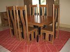 Shenzen Dining Table, Shenzen Chairs, Zen Shaker Kitchen Buffet, Oak Hardwood, Medium & Midnight Finish