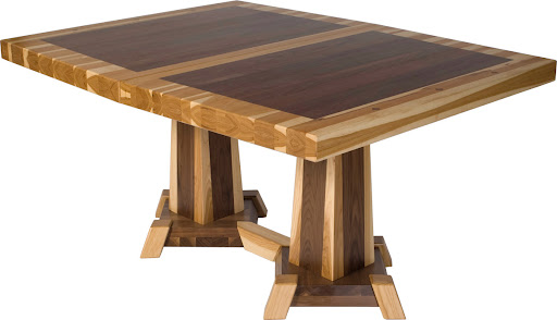 "60"" x 42"" Turin Table in Custom Mixed Wood with Custom Timber Edge"