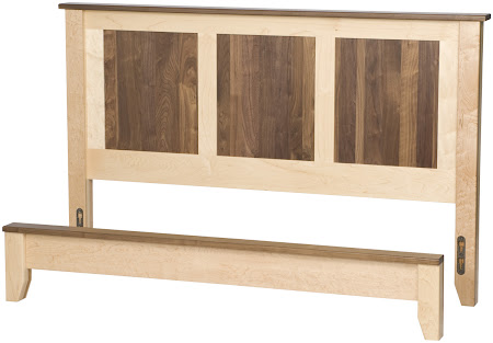 Shaker Platform Bed in Natural Hard Maple and Walnut
