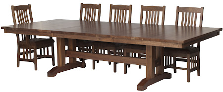 120 x 46 Trestle Table and Raised Mission Chairs in Natural Walnut