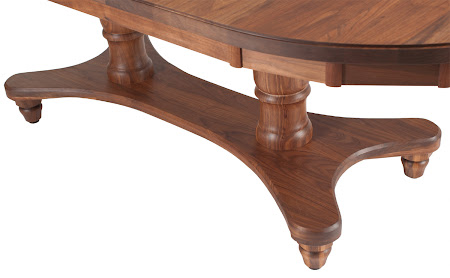 "80"" x 42"" Lotus Table in Oil & Wax Walnut, Oval Tabletop, Notched Table Edge"