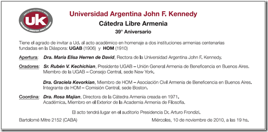 ACTO ARMENIO UNIVERSIDAD KENNEDY