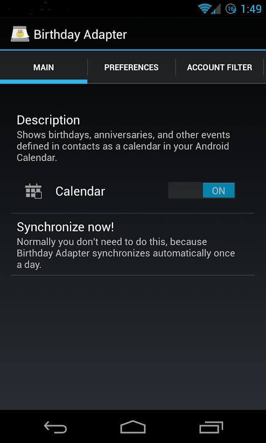 Birthday Calendar Adapter - screenshot