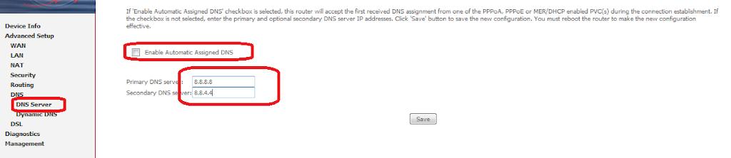 Google DNS Config on Router