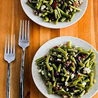 Thanksgiving Green Bean Salad with Blue Cheese, Dried Cranberries, and Pecans.
