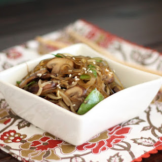 Glass Noodles with Mushrooms, Snow Peas and Sprouts.