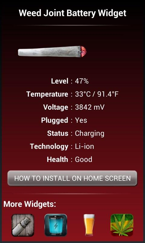 Weed Joint HD Battery Widget - screenshot