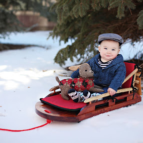 Baby on Sled by Kristin Cheatwood - Babies & Children Babies ( snow, baby, sled )